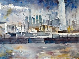 Aquarelle Industrieanlage
