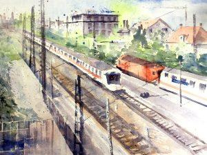 Aquarelle Eisenbahn mit Zug