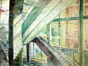 Aquarelle Aufstiegstreppe