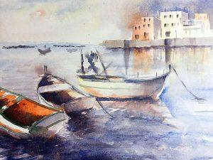 Aquarelle Hafen mit Booten